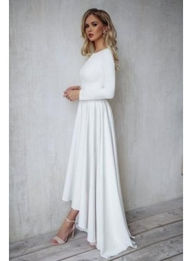 A Line High Low Long Sleeves Bateau Satin Beach Wedding Dresses 2020