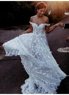 2021 Off Shoulder A Line Sweetheart Side Slit Lace Patterns Beach Wedding Dresses