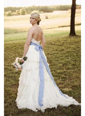 A Line 2021 Sweetheart Chiffon With Blue Belt Ruched Beach Wedding Dresses