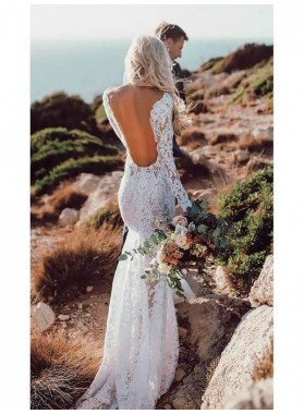 2021 Sexy Sheath Long Sleeves Backless Lace Beach Wedding Dresses