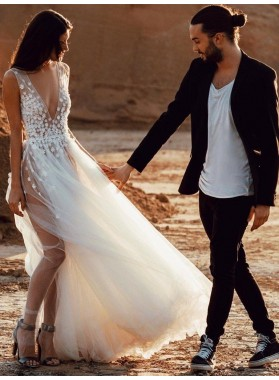 A Line Deep V Neck Tulle Silt Appliques Beach Wedding Dresses 2021