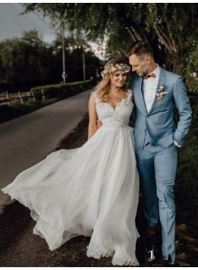 2020 A Line Chiffon With Appliques Backless Beach Wedding Dresses