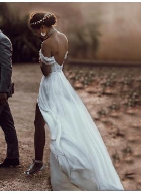 A Line Off Shoulder Sweetheart Chiffon Side Slit Backless Beach Wedding Dresses 2020