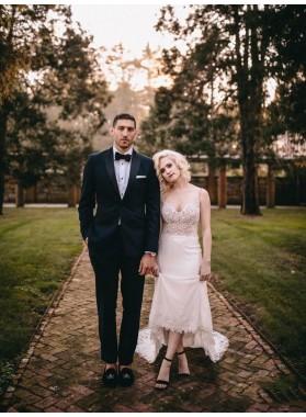 Sheath Sweetheart Lace Backless Long Beach Wedding Dresses 2020