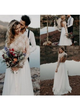 A Line 2020 Long Sleeves Scoop Lace Backless Long Beach Wedding Dresses