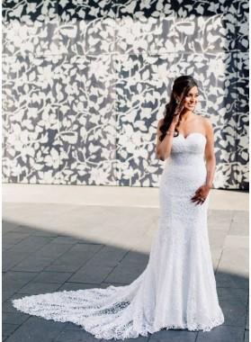 Sheath Strapless Sweetheart Lace Backless Long 2020 Beach Wedding Dresses