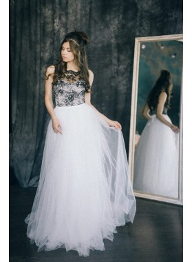 A Line Tulle Black With White Lace Beach Wedding Dresses 2020