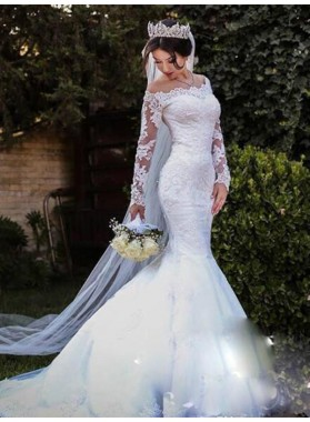 Mermaid Long Sleeves Off Shoulder Lace Long Wedding Dresses 2020