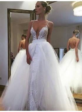 Spaghetti Straps White Sweetheart Lace With Detachable Train Tulle Backless Wedding Dresses
