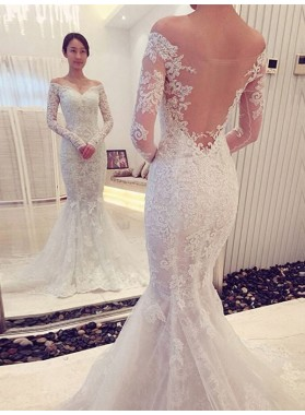 Mermaid Off Shoulder Sweetheart Back Mesh Long Sleeves Lace Wedding Dresses 2021