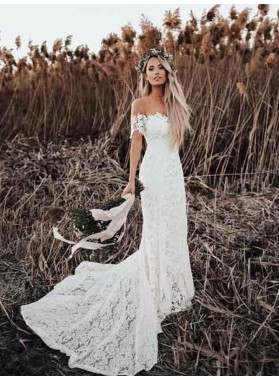 Off Shoulder Lace Long Train Sweetheart Out Door 2021 Beach Wedding Dresses