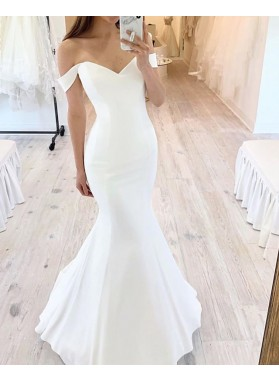 Off Shoulder Mermaid Ivory Sweetheart Satin 2021 Beach Wedding Dresses