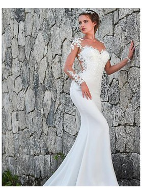 Top Mesh Long Sleeves Elastic Satin With Appliques Sweetheart Wedding Dresses 2021