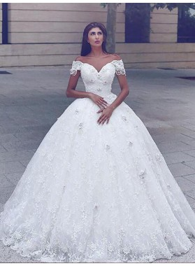 2021 Ball Gown Off Shoulder Sweetheart Lace Chapel Train Wedding Dresses