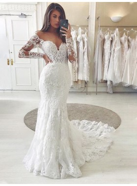 2021 Lace Long Sleeves Off Shoulder Sweetheart Chapel Train Wedding Dresses
