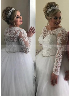 2021 Ball Gown Tulle Long Sleeves Empire Waist Lace Plus Size Wedding Dresses