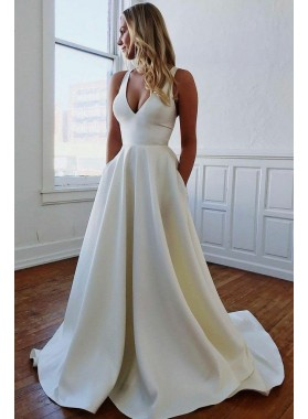 Satin A Line Bowknot Back Halter Natural Waist Sweep Train Wedding Dresses 2021