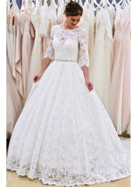 A Line Round Neck Long Sleeves Backless Beaded Sash Lace Wedding Dresses 2021