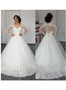 2020 A Line Tulle With Appliques Bowknot Long Sleeves Sweetheart Mesh Wedding Dresses
