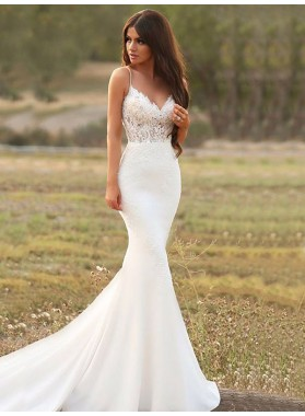 Mermaid Sweetheart Spaghetti Straps Satin Lace Empire Chapel Train Wedding Dresses 2021