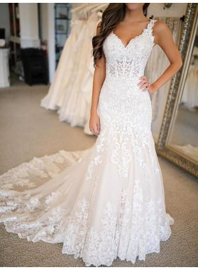 2021 Ivory Sheath Sweetheart Lace Sweep Train Empire Long Wedding Dresses