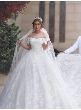 2021 Off Shoulder Lace Up Back White Capped Sleeves Sweetheart Long Lace Ball Gown Wedding Dresses