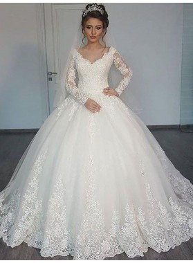 Long Sleeves Sweetheart 2020 Lace Long Train Ball Gown Wedding Dresses