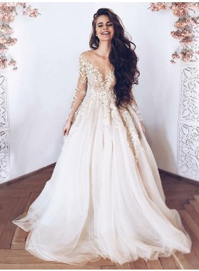 A Line Tulle With Appliques Sweetheart Sweep Train Beach Wedding Dresses 2020