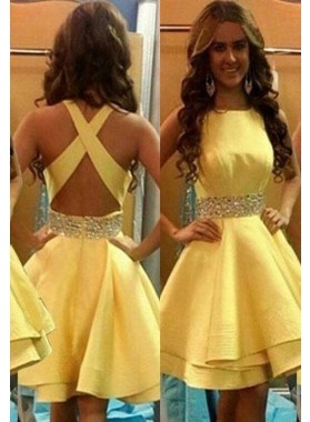 Elegant Beading Criss-Cross Satin Short Yellow Prom Dresses