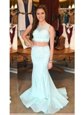 Beading LadyPromDress 2019 Blue Mermaid/Trumpet Tulle Two Pieces Prom Dresses