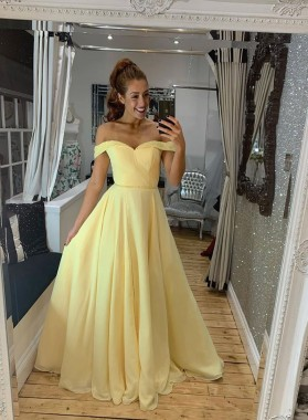 A Line Chiffon Daffodil Off Shoulder Sweetheart Zipper Back Prom Dress 2021
