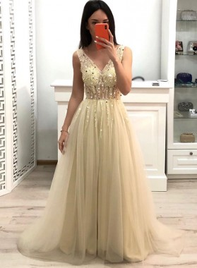 2021 A Line V Neck Tulle Beaded Long Ivory Prom Dress