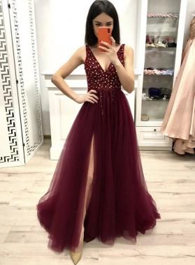2021 A Line V Neck Tulle With Beaded Burgundy Side Slit Prom Dress