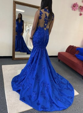 2021 Royal Blue Mermaid Long V Neck Prom Dress With Appliques