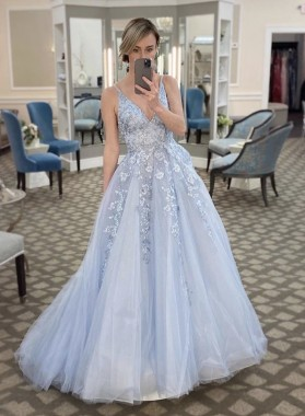 A Line V Neck Tulle Light Sky Blue Long Prom Dress With Appliques 2021