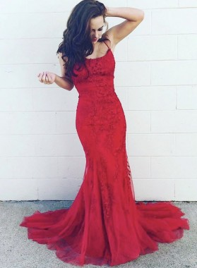 2021 Sheath Red Halter Tulle With Appliques Long Prom Dress