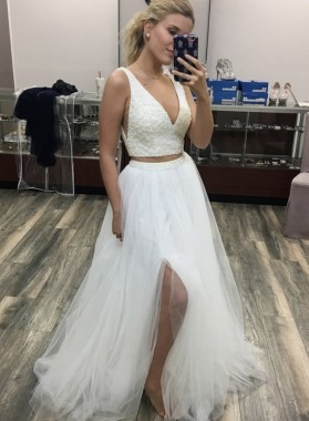 2021 A Line V Neck Two Pieces White Beaded Long Prom Dress