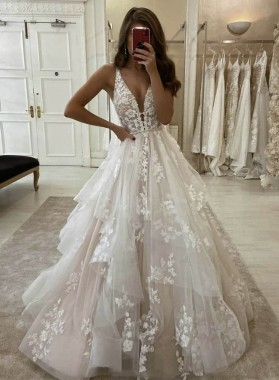 2021 V Neck Ivory Tulle With Appliques Long Prom Dress