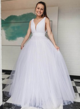 A Line White Sweetheart Tulle Long Prom Dress 2021
