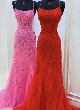 2021 Red Halter Backless Sheath Tulle With Appliques Long Prom Dress