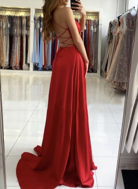 2021 A Line Red Sweetheart Side Slit Backless Long Prom Dress