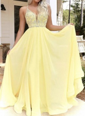 Halter Chiffon Sweetheart Beaded Backless Prom Dress Daffodil Long Prom Dress 2021