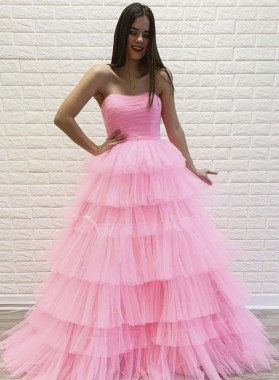 2021 A Line Layered Tulle Pink Strapless Long Prom Dress