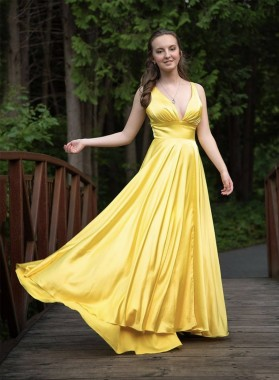 2021 A Line Elastic Satin Yellow Zipper Back Sweetheart Long Prom Dress