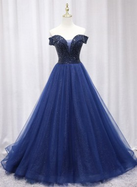 2021 A Line Tulle Dark Navy Off Shoulder Long Prom Dress