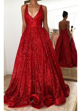 2021 A Line Red V Neck Sequence Halter Backless Long Prom Dress