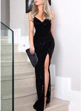 2021 Sheath Black Side Slit Sweetheart Sequence Floor Length Prom Dress