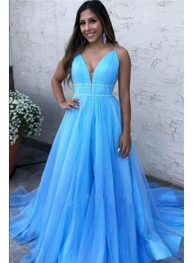 2021 A Line Blue Beaded Tulle Ruffles Long Prom Dress