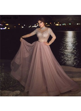2021 A Line Dusty Rose Tulle Long Sleeves Beaded Long Prom Dress
