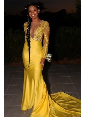 2021 Sheath Elastic Satin Long Yellow Long Sleeves Open Front Lace Prom Dress